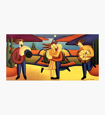 Structured lovers with musicians by lake Photographic Print