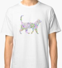 Neonregenbogenblumen Katze Classic T-Shirt