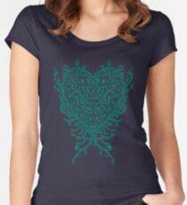 Peacock Heart Tee Dark Women's Fitted Scoop T-Shirt
