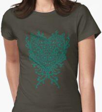 Peacock Heart Tee Dark Women's Fitted T-Shirt