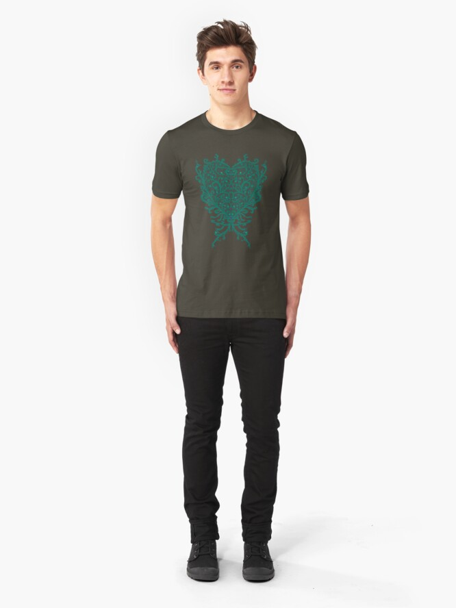 Alternate view of Peacock Heart Tee Dark Slim Fit T-Shirt