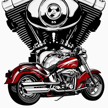 Harley Davidson Motorcycle and Engine by tastytees