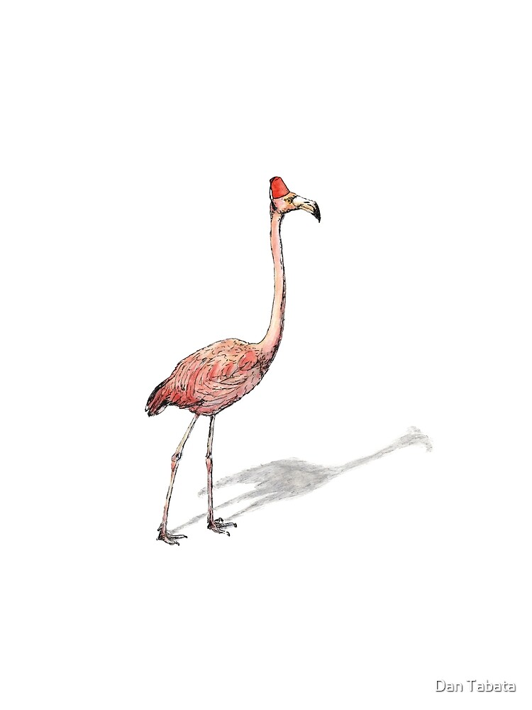 Fez Hat Flamingo by Dan Tabata