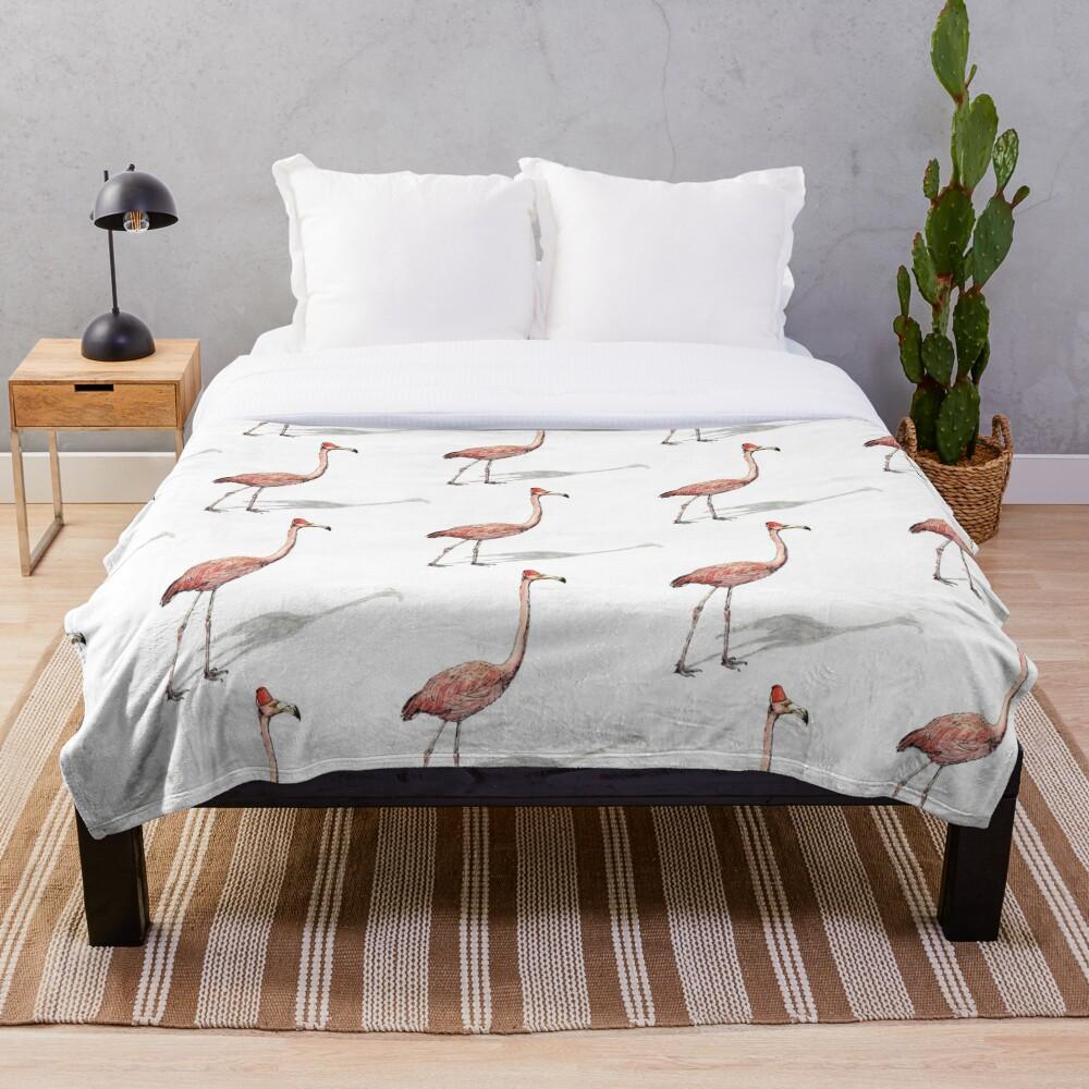 Fez Hat Flamingo Throw Blanket