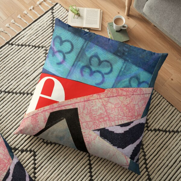 Thirty Three abstract collage Floor Pillow