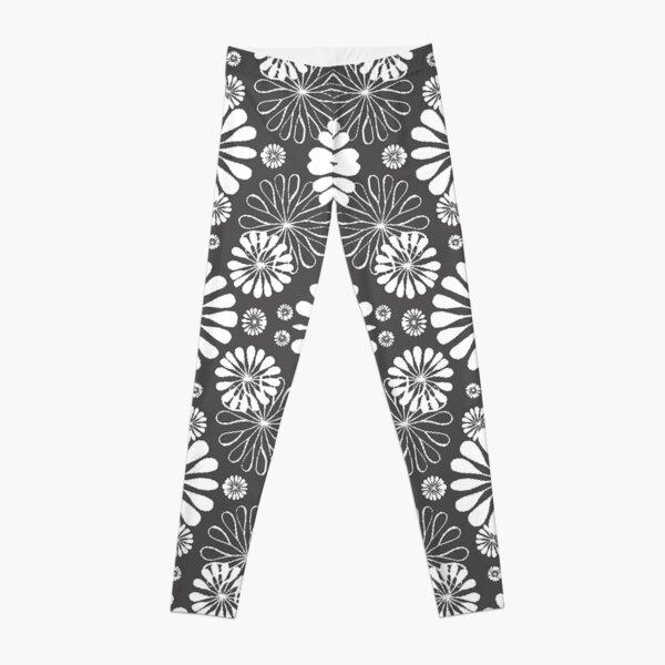Monochrome #pattern #abstract #decoration #illustration flower art textile design vector element ornate tile textured seamless Leggings