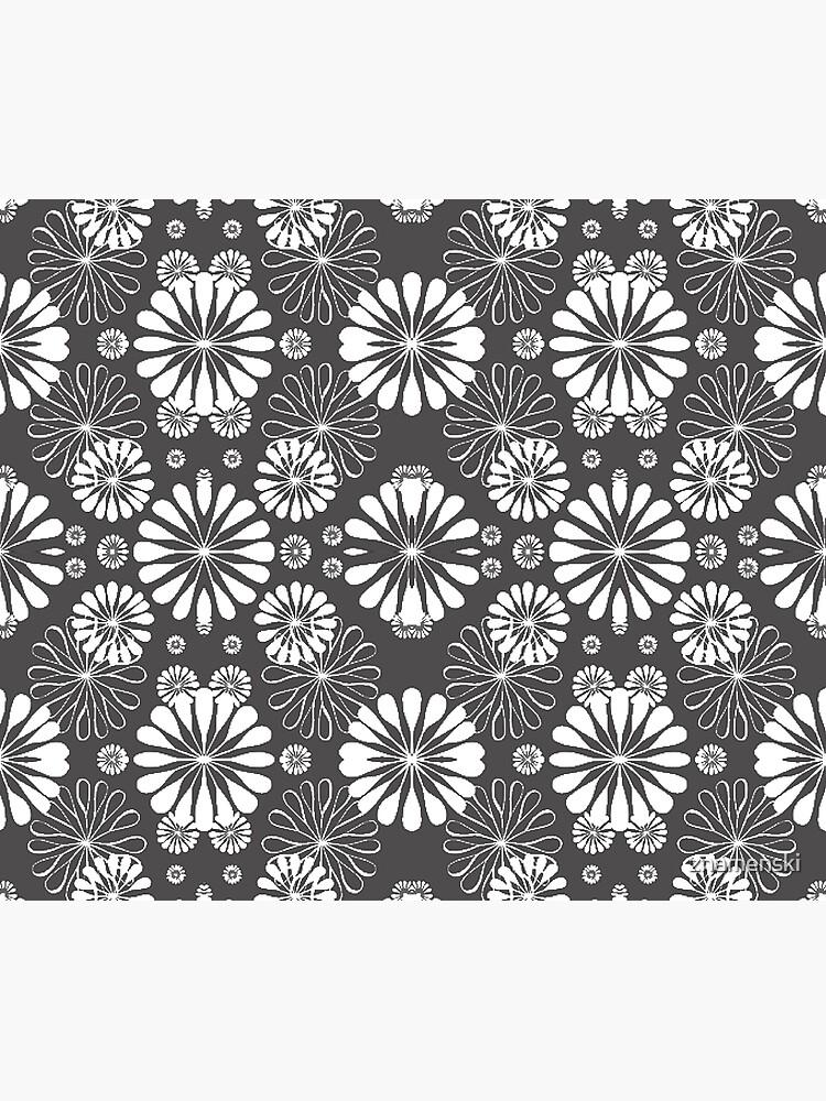 Monochrome #pattern #abstract #decoration #illustration flower art textile design vector element ornate tile textured seamless by znamenski