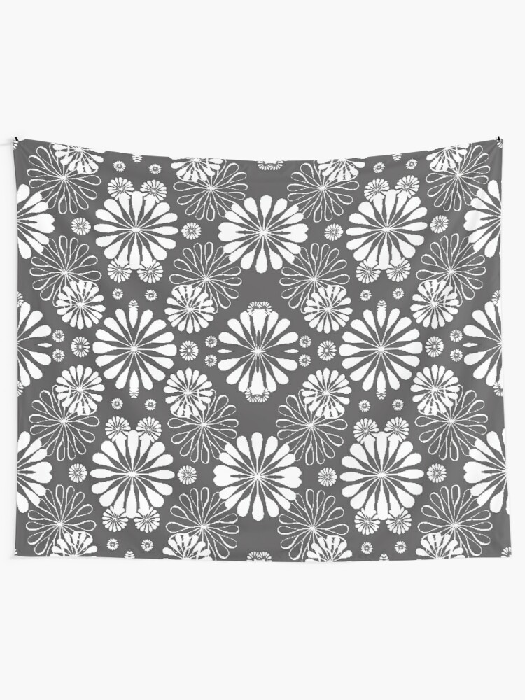 Alternate view of Monochrome #pattern #abstract #decoration #illustration flower art textile design vector element ornate tile textured seamless Tapestry