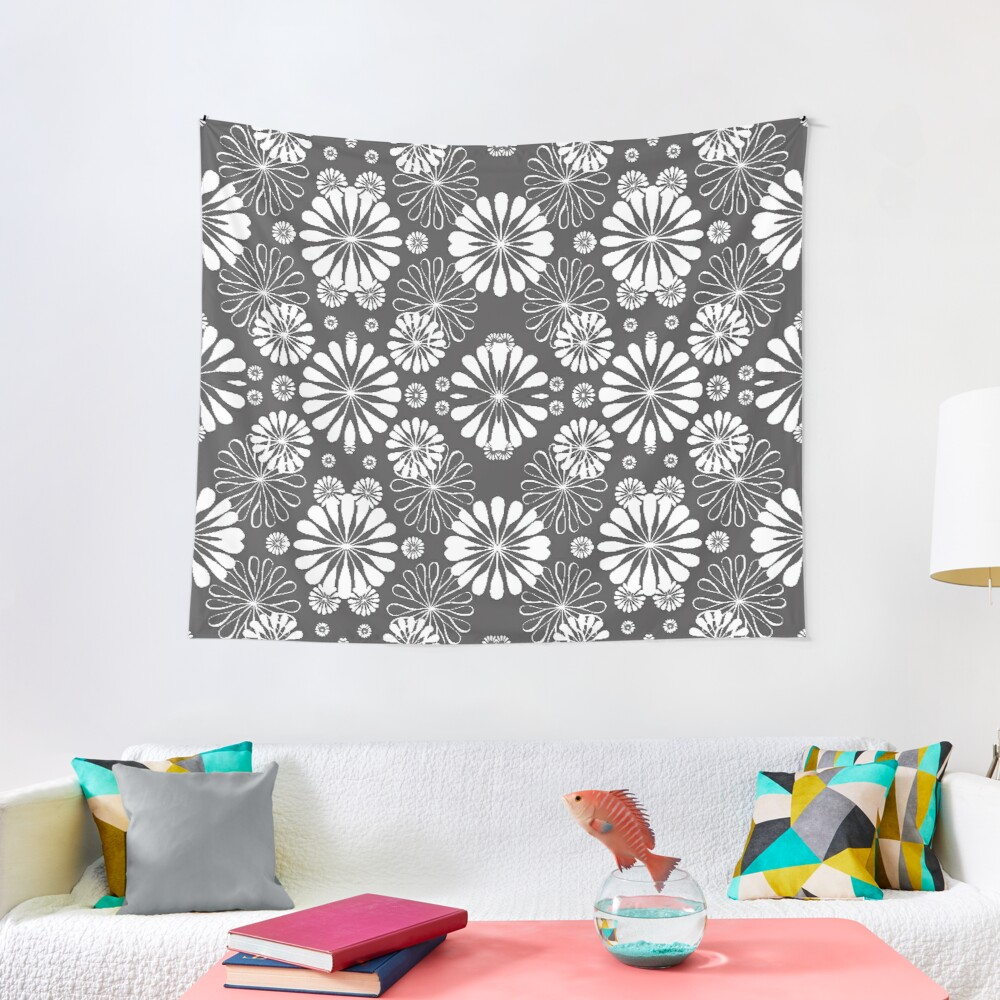 Monochrome #pattern #abstract #decoration #illustration flower art textile design vector element ornate tile textured seamless Tapestry