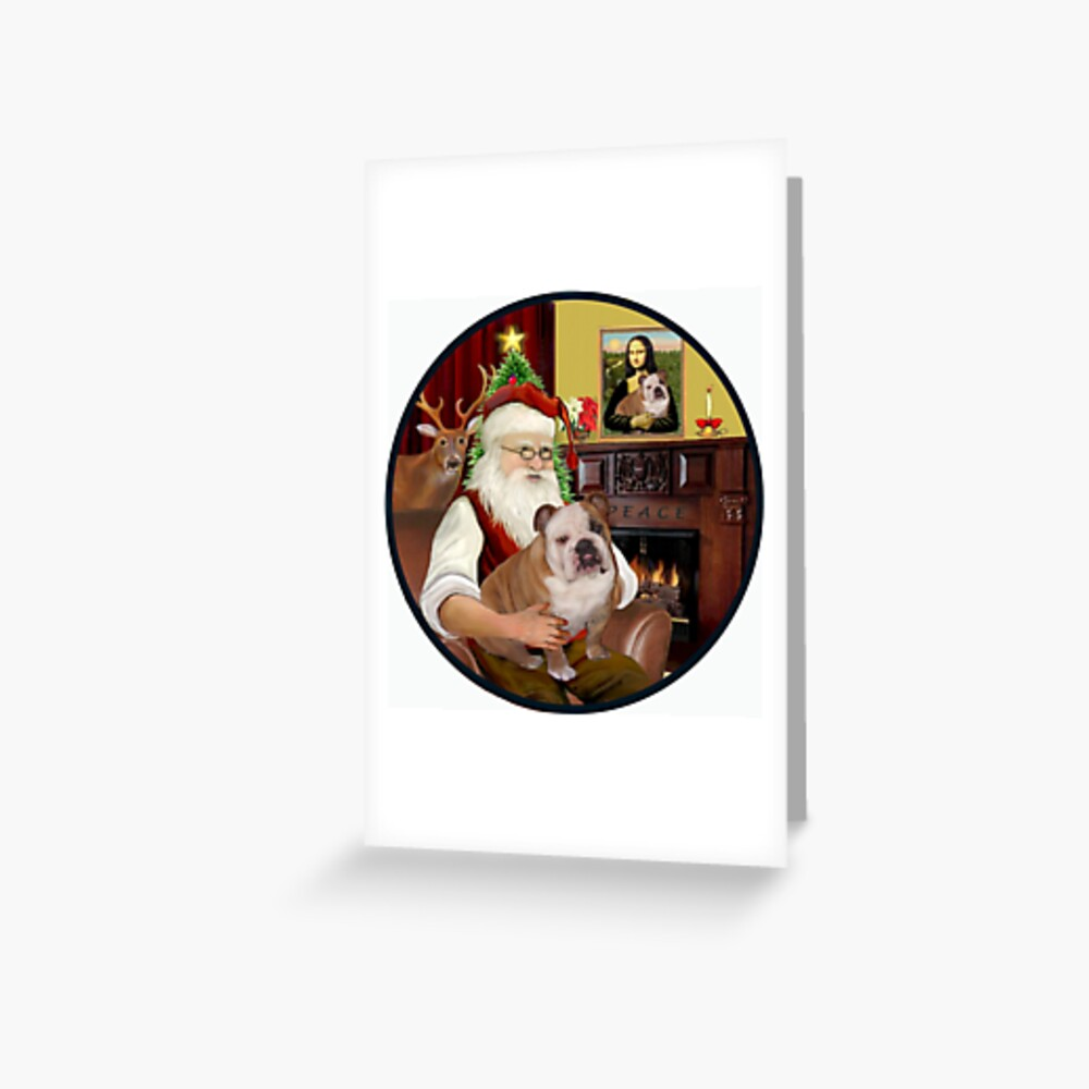 Santa at Home with His English Bulldog (brown/white) Greeting Card