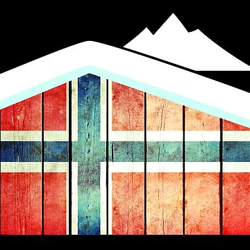 Norway Flag Wooden Hut Winter Snow Souvenir Gift by peter2art