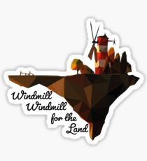 Pegatina Gorillaz Feel Good Inc. Isla del molino de viento Poly-Art + Texto 3