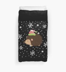 Hedgehog and Snowflakes Duvet Cover