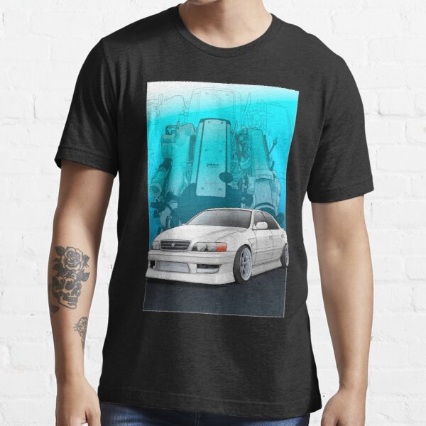 Chaser jzx100 (white) with 1jz engine background, Essential T-Shirt