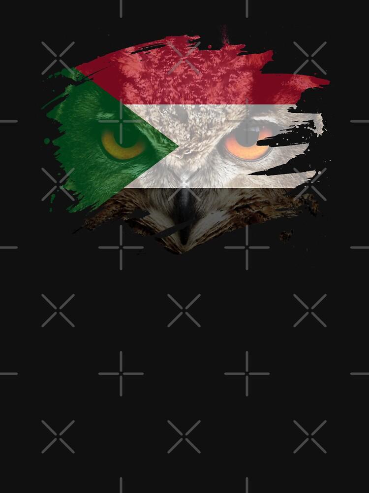 Sudan Flag and Menacing Owl by ockshirts