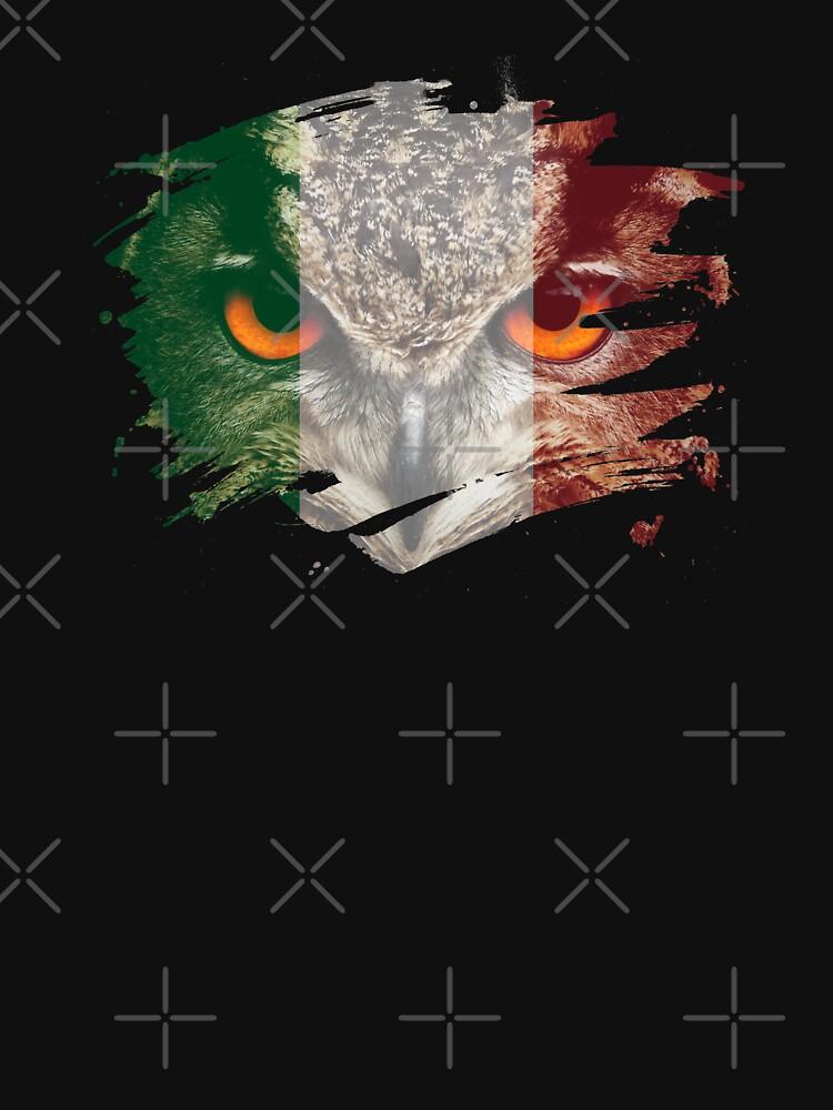 Italy Flag and Menacing Owl by ockshirts