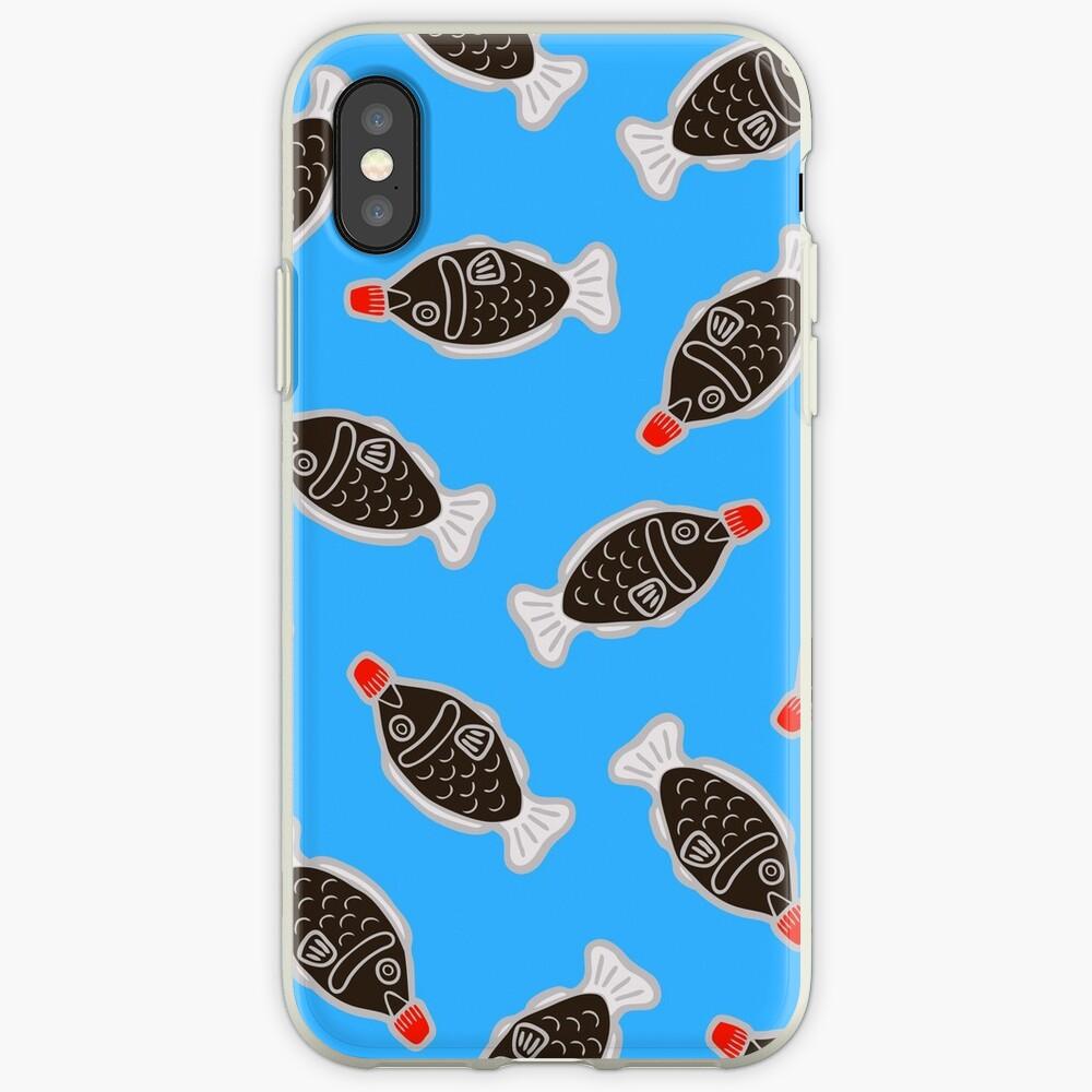 Sushi Fish Fish Pattern en azul Funda y vinilo para iPhone