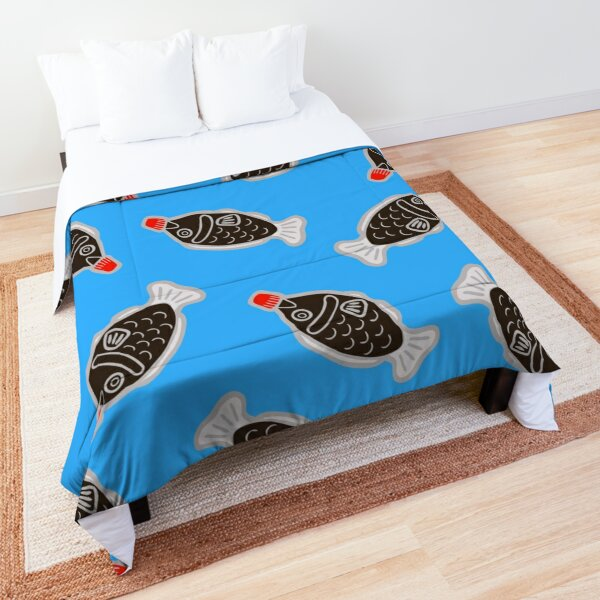 Sushi Soy Fish Pattern in Blue Comforter