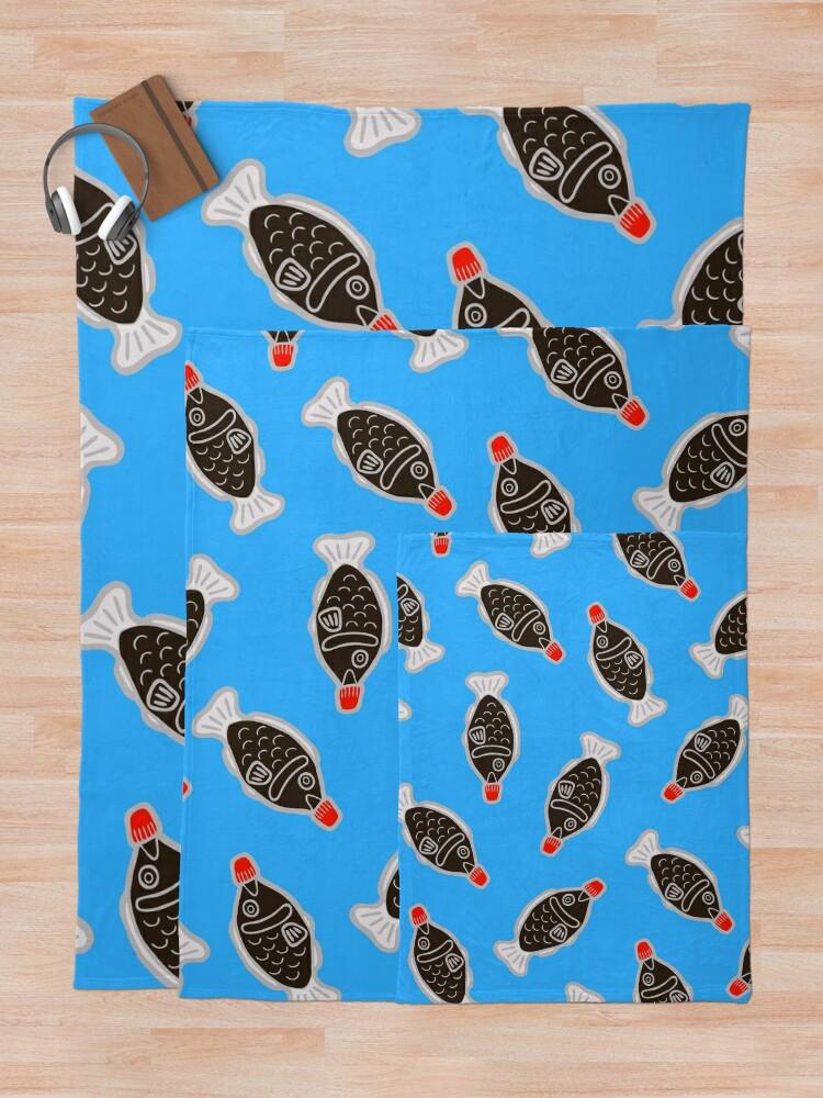 Vista alternativa de Manta Sushi Fish Fish Pattern en azul
