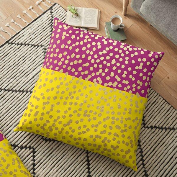 Yellow and Aubergine Gold Dot Spot Pattern Floor Pillow