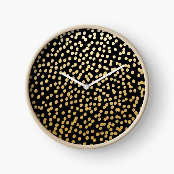 Gold and Black Dot Spot Pattern Clock