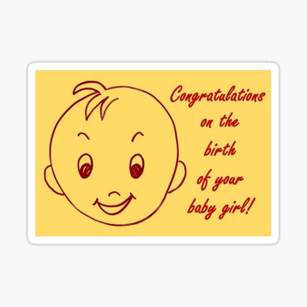 Baby Girl Congratulations Card Sticker
