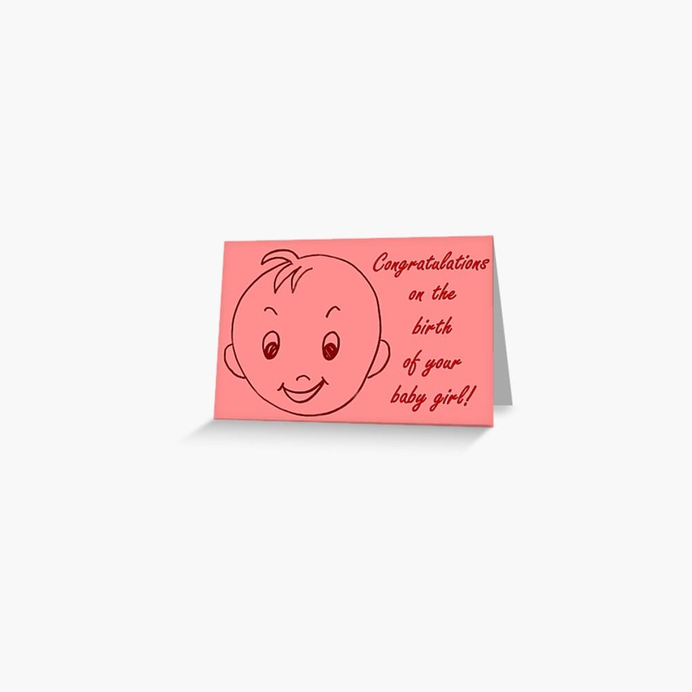 Baby Girl Congratulations Card Greeting Card