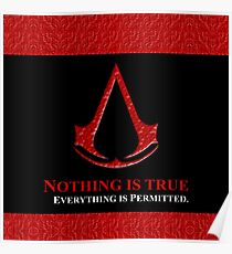 Nothing is true everything is permitted typograph Poster