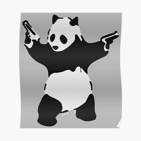 Banksy Pandamonium Armed Panda Artwork, Pandemonium Street Art, diseño para carteles, impresiones, camisetas, hombres, mujeres Póster