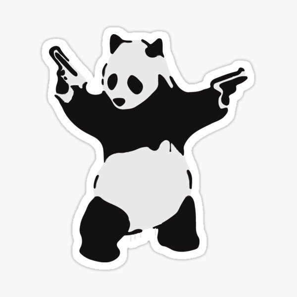 Banksy Pandamonium Armed Panda Artwork, Pandemonium Street Art, Design For Posters, Prints, Tshirts, Men, Women Sticker