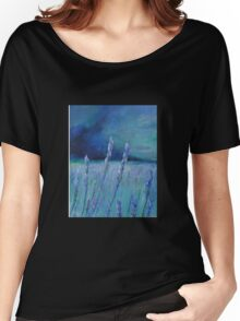 Lavender Digital and Arcylic Impressionistic Abstract Women's Relaxed Fit T-Shirt