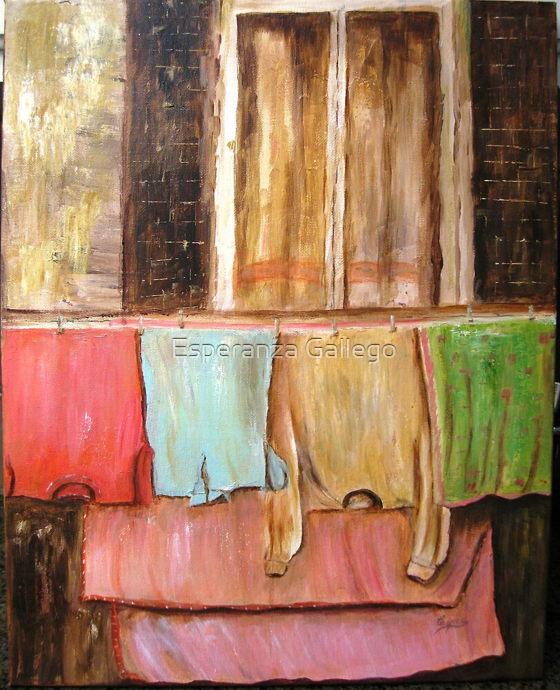 Laundry , Acrylic painting by Esperanza Gallego