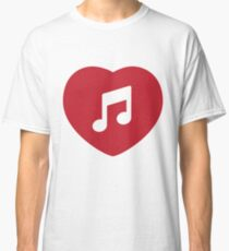 Heart Note Musical Note Music Love Singing Singing Red Classic T-Shirt