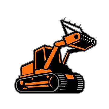 Tracked Mulching Tractor Icon Retro by patrimonio