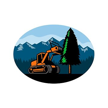 Forestry Mulcher Tearing Tree Oval Retro by patrimonio