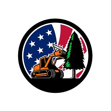 American Forestry Mulcher USA Flag Retro by patrimonio