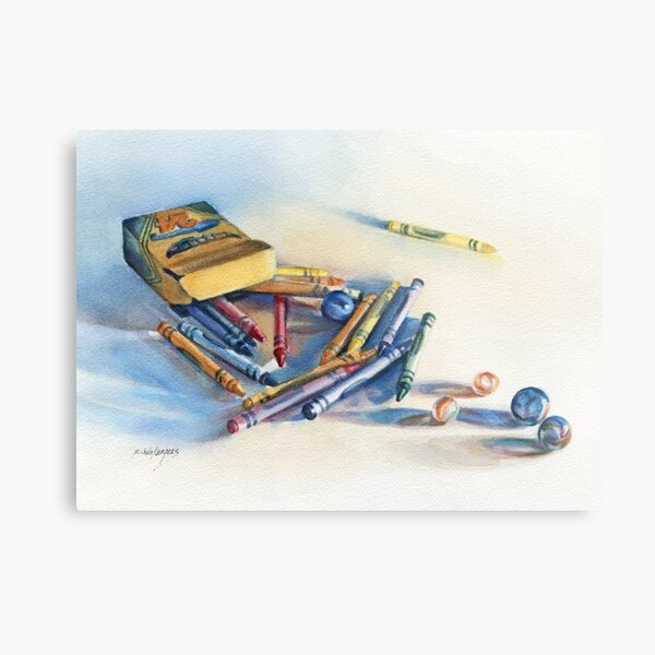 crayons and marbles Metal Print