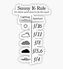 Sunny 16 Rule - Black Sticker