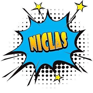 Comic book speech bubble font first name Niclas by PM-Names