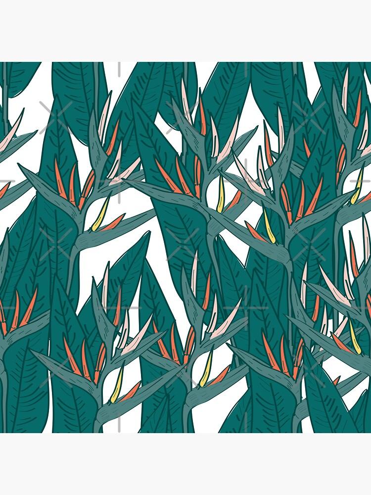 Strelitzia blüht Blattskizze, schwarze Kontur rosa Korallengelb grün. einfache Verzierung von EkaterinaP