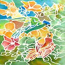 Parakeets Stain Glass by Rosie Brown