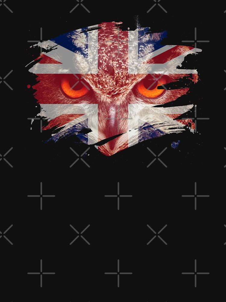 Britain Flag and Menacing Owl by ockshirts