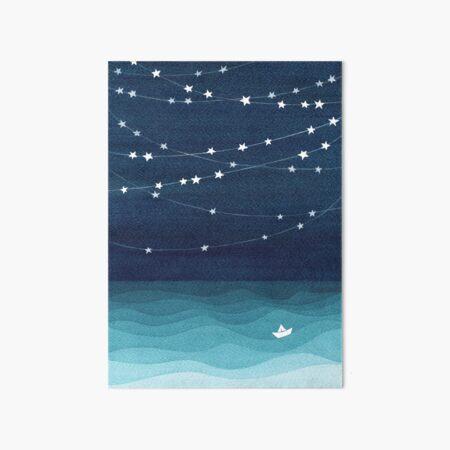 Garland of stars, teal ocean Art Board Print