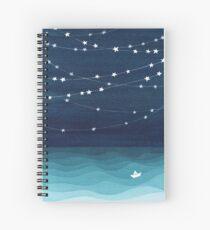 Cuaderno de espiral Guirnalda de estrellas, océano verde azulado