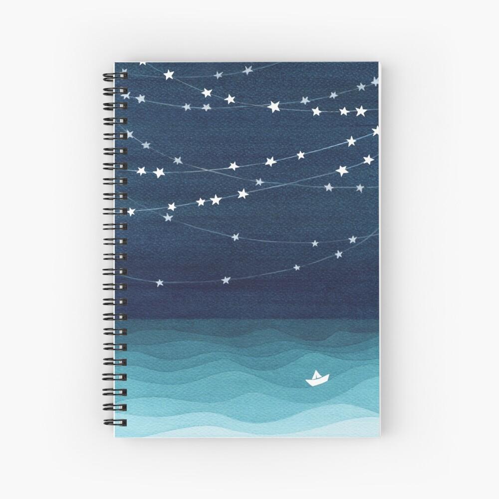 Garland of stars, teal ocean Spiral Notebook