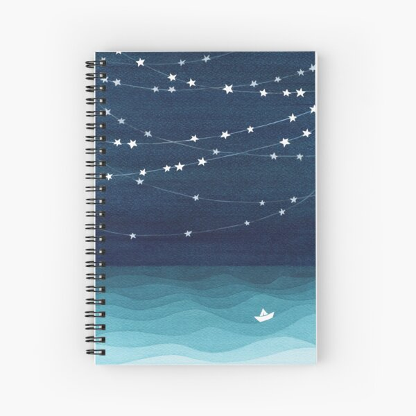 Garland of stars, teal ocean Spiral Notebook