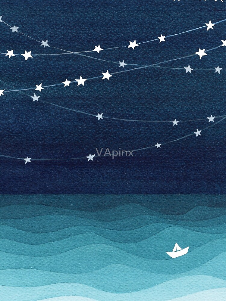 Garland of stars, teal ocean by VApinx