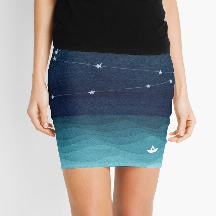 Garland von Sternen, aquamariner Ozean Minirock