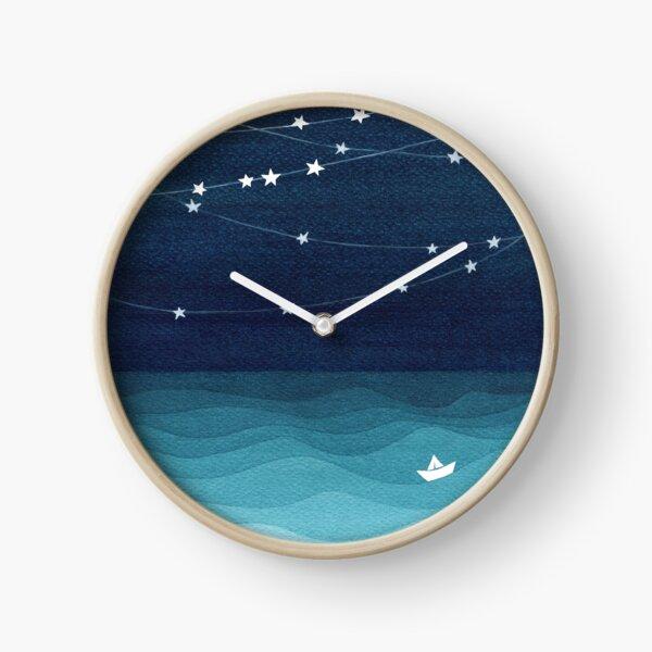 Garland of stars, teal ocean Clock