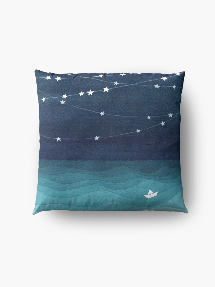 Alternate view of Garland of stars, teal ocean Floor Pillow